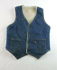 Levi's Mens Medium Sherpa Line Denim Trucker Jean Vest Snap Buttons Vintage