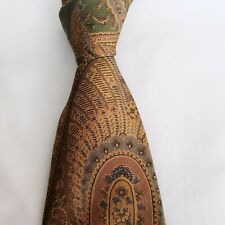 Burberrys of London Vintage Paisley Tan & Green Necktie 100% Silk Made in USA
