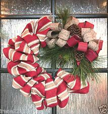 "24"" Holiday Designer Burlap Grapevine Wreath Wall Door Hanger Décor pineconesNIB"