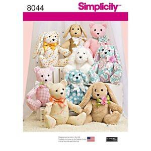 "Simplicity Sewing Pattern Craft 8044 Stuffed Animals Aprox 14"" Two-Pattern Piece"