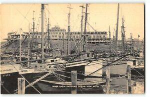 Block Island RI Boats in Inner Basin Harbor, Ocean View Hotel - c1930s Postcard