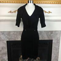 KAREN MILLEN 1 Black Military Trench Coat Knit Stretch Wool Blend Sweater Dress