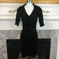 KAREN MILLEN 1 Black Military Trench Coat Knit Stretch Wool Blend Sweater Dress