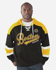 Boston Bruins Power Play French Terry Lace-Up Hooded Pullover Sweatshirt(M)