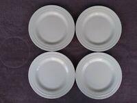 "Mikasa Bone China Swirl White Salad Plates Raised Rings 9"" Set of 4"
