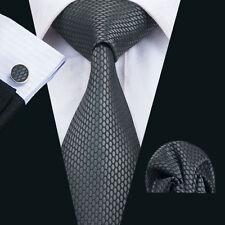 Schwarz Grau Wabe Seide Krawatte Set Einstecktuch Knöpfe Breit Hochzeit K170