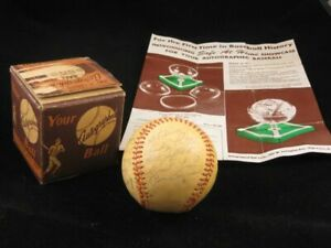 1949 Chicago Cubs Stamped Signed Baseball w/ Original Box