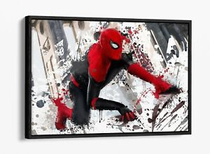SPIDERMAN SPLASH MARVEL -FLOAT EFFECT CANVAS WALL ART PIC PRINT- RED WHITE