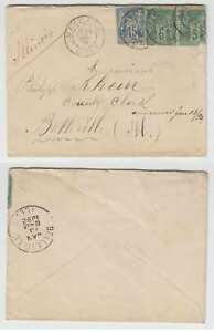 """FRANCE 1891 USED IN ALGERIA Sc 78 PAIR & 92 ON COVER """"MASCARA ORAN"""" Cd TO USA"""