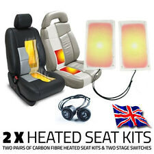 2x HEATED SEAT KITS & TWO STAGE SWITCHES - CARBON FIBRE ELEMENT PAD
