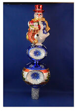 Snowman W Stocking Reflector Tree Topper Poland Glass Christmas Ornament 020043