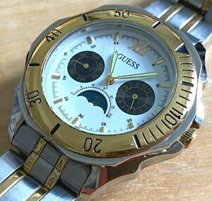 Vintage GUESS Mens Dual Tone Rotating Bezel Moon Phase Quartz Watch~New Battery