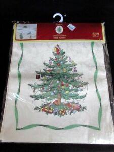 """Spode Christmas Tree Fabric Oblong 90"""" Table Runner Green Ribbon Avanti Linens"""