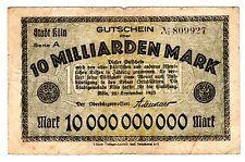 GERMANY Allemagne Billet 10 MILLIARDEN MARK 1923  GUTSCHEIN UBER BON ETAT