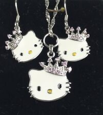 NEW Hello Kitty Pendant Earrings Set 925 Stamped Sterling Silver Ladies Girls
