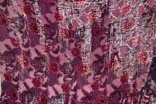 """1M Pink multi   BURNOUT  VELVET  FLORAL DRESS CHIFFON FABRIC 40"""" WIDE"""