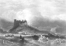 England BAMBURGH CASTLE Fortress Ship Boat in Storm ~ 1840 Art Print Engraving