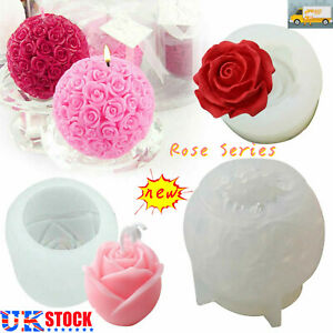 Rose Series Shape Soap Candle Making Moulds Silicone Craft Aromatherapy Molds UK