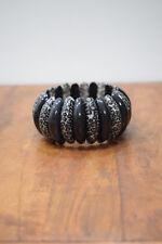 Bracelet Black White Leopard Tribal Plastic Stretch Bracelet