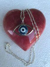 Evil Eye Protection Pendant Necklace 925 Sterling Silver white Blue Cz