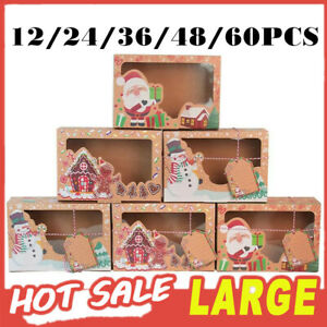 12/24/48X Christmas Cookie Box Kraft Paper Candy Gift Boxes Bags Food Packaging