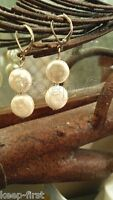 New Natural 11-12mm Double White Coin Pearl Earrings Silver Leverbacks Dangle