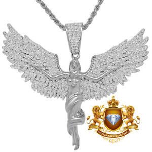 Real Genuine White Gold Sterling Silver Angel Pendent Flying Wings Charm + Chain