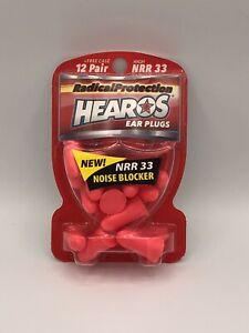 Hearos Pink Ear Plugs NRR 33 - 12 Pair Noise Reduction 33 Decibels