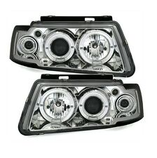 2 FEUX PHARE AVANT ANGEL EYES LED CHROME VW PASSAT 3B DE 10/1996 A 10/2000
