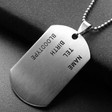 Fashion Army Military Chain Silver Titanium Steel ID Dog Tag Pandent Necklace