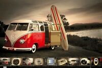 VOLKSWAGEN POSTER ~ CLASSIC CAMPER SURF COLLAGE 24x36 Autos VW Volkswagon 0435