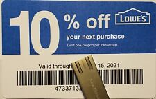 Twenty (20) LOWES Coup0ns 10% OFF At Competitors ONLY not AtLowesExp Sep15 2021