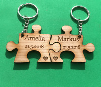2 x PERSONALISED Jigsaw Keyring  Cherry Veneer Gift For a Loved one anniversary