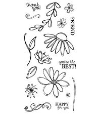 Fiskars Clear Stamps - Petals From Scratch, Flowers, Leaves, Flower, Daisy Stem