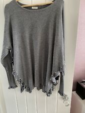 Lounge Wear Slouch Ladies Light Grey Fine Knit Jumper Size 10-12