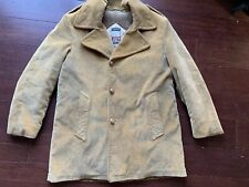 Mighty-Mac Vintage Out O'Gloucester Tan Corduroy Coat Jacket, 44, Faux Fur Lined