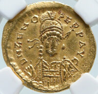 ZENO Authentic Ancient 476AD Gold Solidus Roman Coin ANGEL VICTORY NGC i85481
