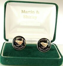 1937 Farthing Cufflinks made from real coins in Black & Gold