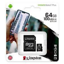 V059.-  SDCS2/64GB+ ADAPT. TARJETA  MEM 64GB CANVA SELECT PLUS MICRO SD KINGSTON