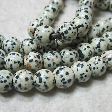 """Dalmation Jasper 10mm Round 2mm Large Hole Beads 8"""" Wire Wrap String Leather DIY"""