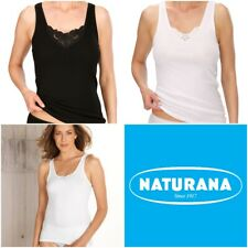 Naturana Women's Pack of 2 Cotton Build Up Shoulder Vest Lace 802530 RRP £17.95