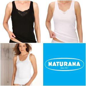 Naturana Women's Pack of 2 Cotton Build Up Shoulder Vest Lace 802530 RRP £17.95