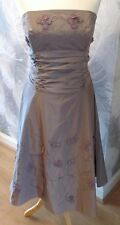 Monsoon Pure Silk Taupe Vintage Dress Size 14  Cruise,Prom,Wedding Any Occasion