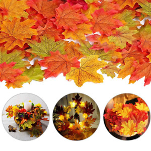 200X Autumn Maple Leaf Fall Fake Silk Leaves Craft Wedding Party XMAS Decor mix