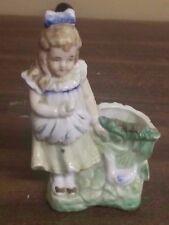 Vintage Porcelain Toothpick Holder, Girl with Duck