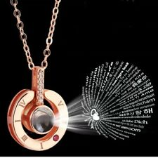 I Love You 100 languages Projector Rose Gold Silver Necklace Pendant Gift