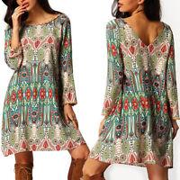 Summer Women Boho Vintage Floral Casual Dress Plus Size Loose Dresses UK 12 18
