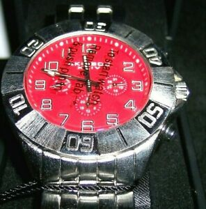 MEN'S AIRIBOS XXIV MULTI-FUNCTION QUARTZ STAINLESS STEEL WRISTWATCH-RED FACE NEW