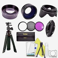 3 LENS + FILTER KIT + FLEXIBLE TRIPOD + ZOOM LENS FOR CANON EOS REBEL T3 T3I T4