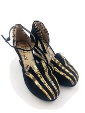 Miss L Fire 39 Black Snake Skin Wedge Platform Heels